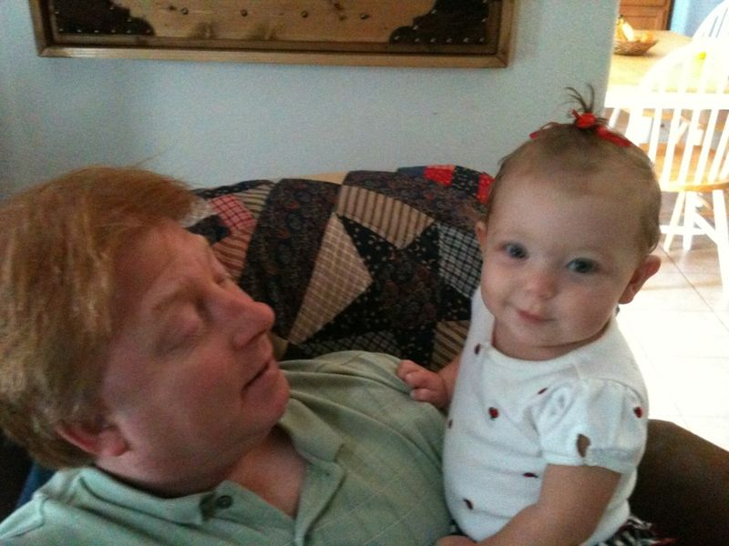 Daddy and Darcy - Her first fountian hair do