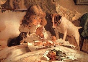 Girl_praying_with_cat_and_dog_in_her_bed